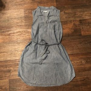 OLD NAVY Polka Dot Collared Chambray Dress L
